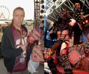 Left: Dave Brockie as friends and family saw him. Right: As fans saw him, as Oderus Urungus.